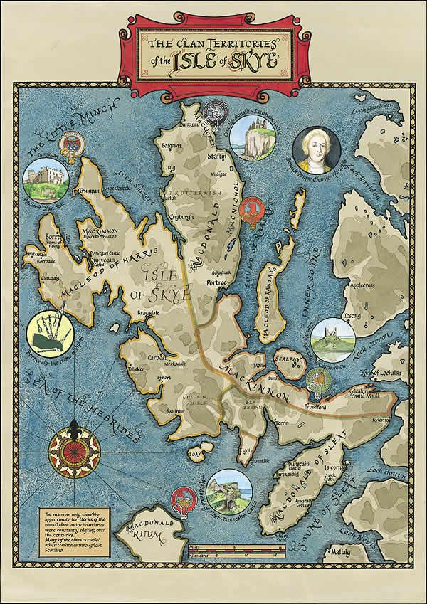 Map of the Isle of Skye: Genealogy maps of Scotland: Border Art - Our genealogy clan maps of Scotland and Ireland and Irish and Scottish cla...