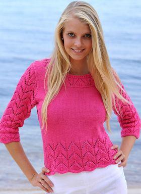 Strikkeopskrift: Sød, strikket sommerbluse i pink