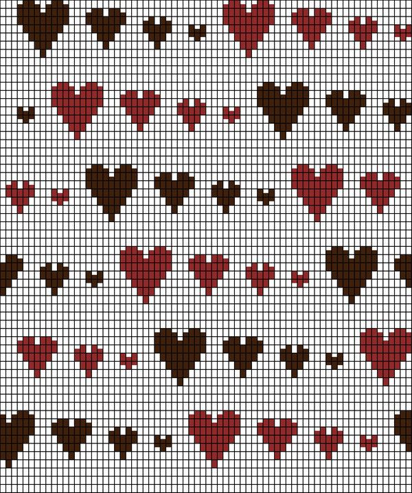 Knitting Chart: Runaway Hearts by ~redhedinsanity on deviantART