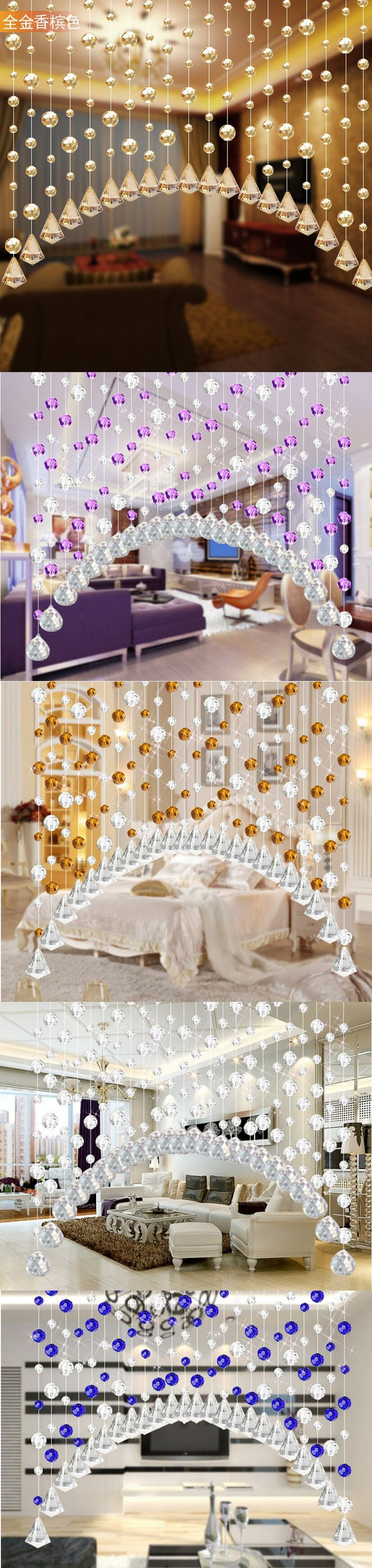 Novelty Crystal Bead Curtain Kitchen Door Curtains Luxury Crystal Curtains For Living Room Crystal Bead Curtain $33