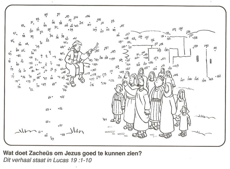 Zacchaeus in the tree to see Jesus good dot to dot