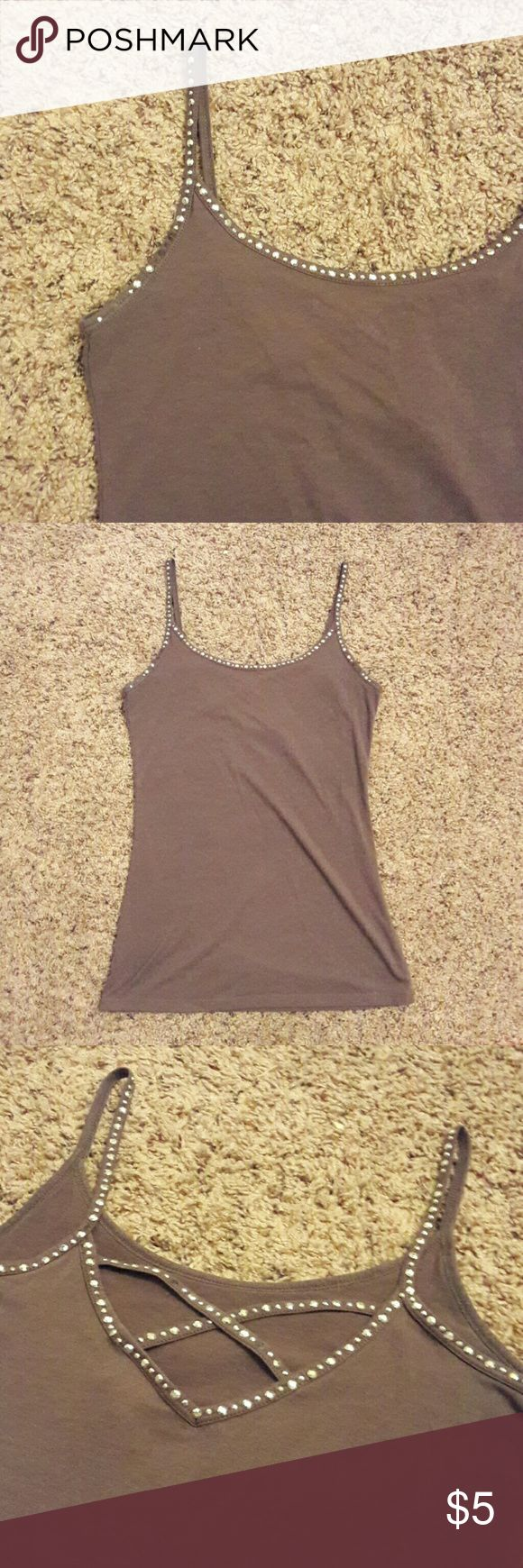 Rue 21 Spaghetti Strap Tang Top A two-sided tang top. Either design can be worn in the front. A few embellishments are missing which can be seen in the photos. I honestly just noticed them as I was taking photos. No pulling and very comfy.great as an undershirt or by itself. Grey with maybe an olive undertone. Rue 21 Tops Camisoles