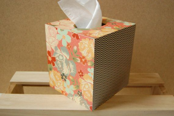 Floral & Stripes Tissue Box by PaperedWoods on Etsy