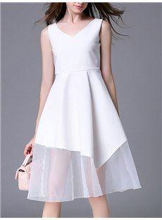 レディースファッションホワイトVネックシースルー裾膝丈ワンピース