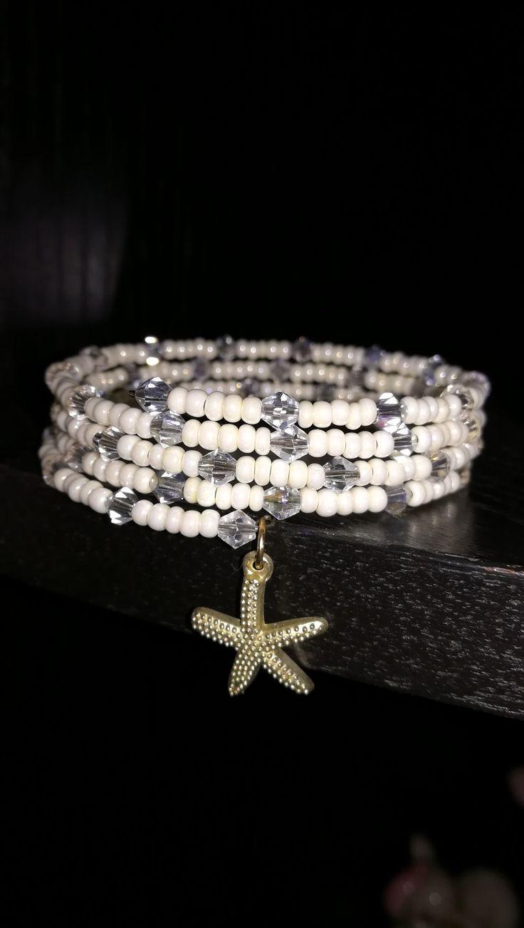 Memory wire bracelet,white pearl, Swarovski korálky