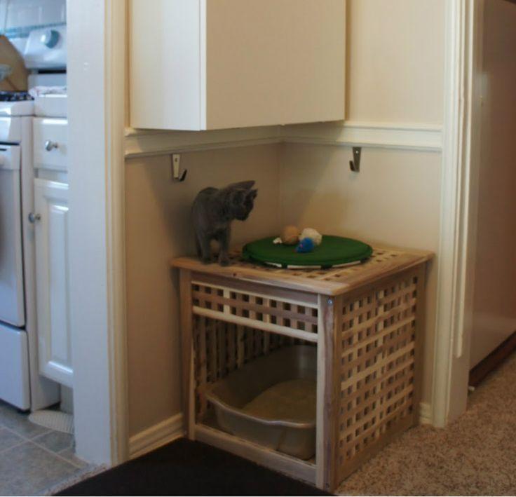 cat boxes on a wall | Hidden Cat Litter Box Furniture