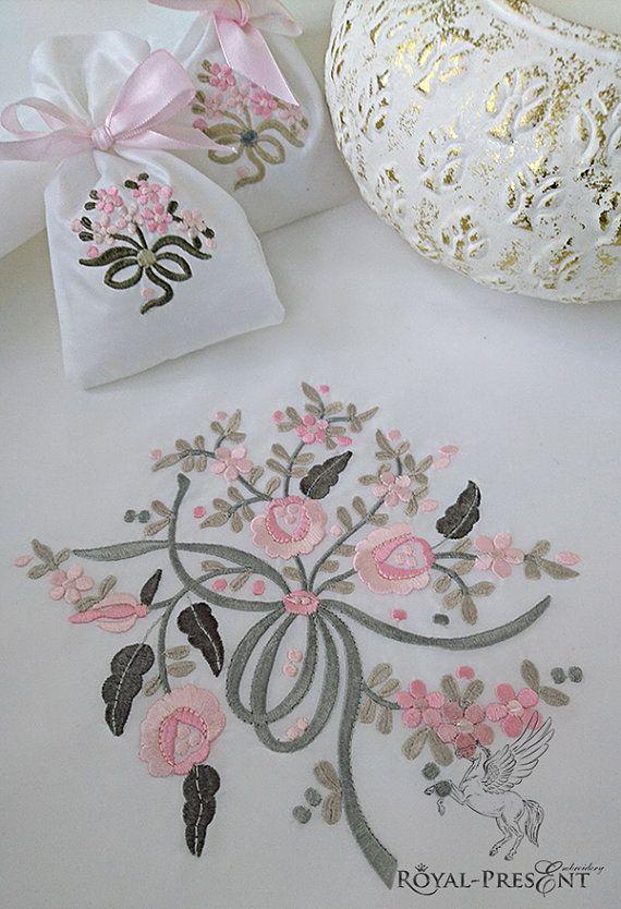 Motif de broderie machine bouquet de fleurs 3 en 1