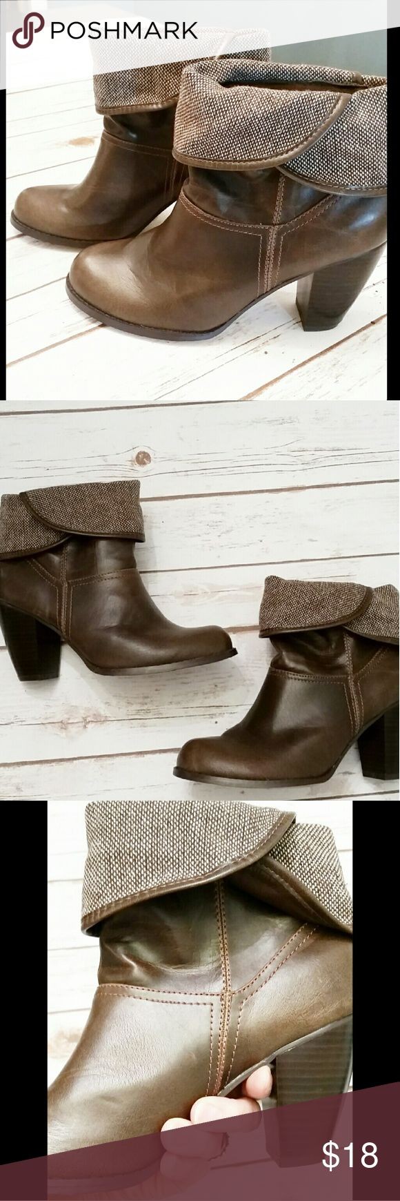 Stylish Short Brown Boots *Short foldover boots in excellent used condition. Heel is approximately 3 inches high. Only worn once. Mudd Shoes Ankle Boots & Booties