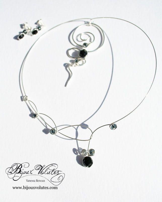 Parure bijoux mariage noir, collier mariée perles noires