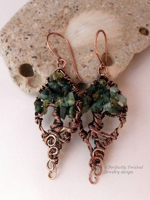 sold! Wire Wrapped Earrings Tree of Life Peridot & by PerfectlyTwisted