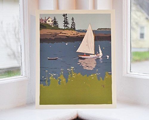 Sailing Long Cove Print (8x10 Off-set Lithograph Poster, Wall Decor Art). Sailing Long Cove by Graphic Artist Alan Claude. Long Cove Point is in Chamberlain, Maine. Muscongus Bay, Round Pond, near Pemaquid Point Lighthouse. This off-set lithograph print is beautifully printed on archival heavy paper with solid ink coverage...looks and feels like a silkscreened print.