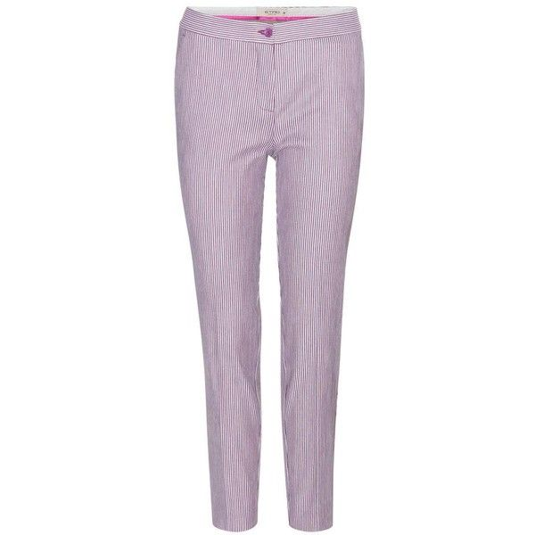 Etro Cotton-Blend Trousers ($360) ❤ liked on Polyvore featuring pants, purple, skinny, trousers, skinny fit pants, cotton blend pants, purple skinny pants, skinny leg pants and skinny pants