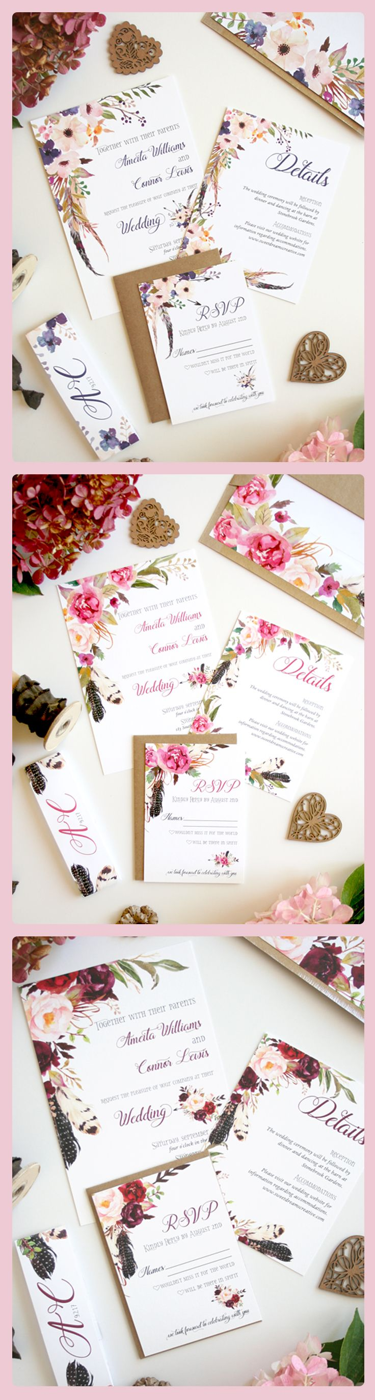 wedding card design software for android%0A Boho Chic Wedding Invitations