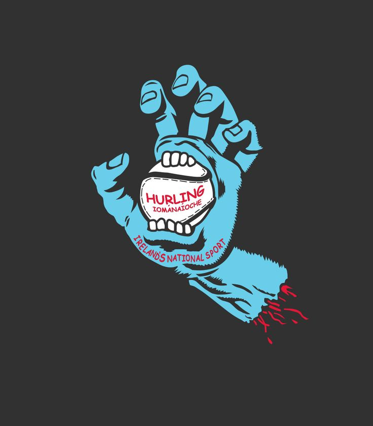 """This custom designed t-shirt is based on the classic Santa Cruz """"Screaming Hand"""" skateboarding graphic. This is a hand catching a sliotar. Anyone who has played the Irish sport of Hurling, knows this feeling."""