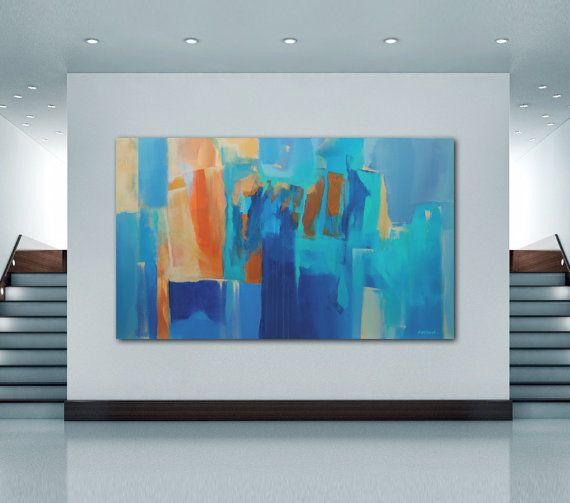 Peinture bleu orange abstraite peinture large peinture par Artoosh