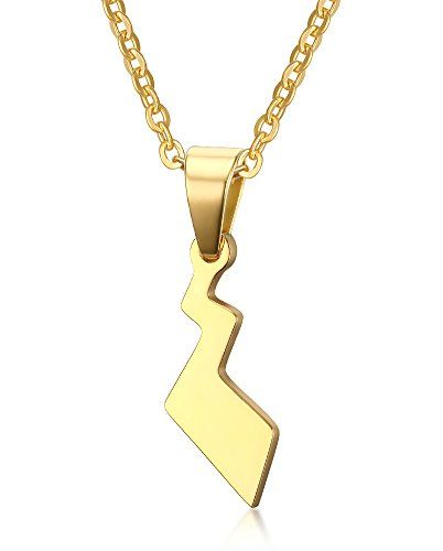 Vnox Stainless Steel Pokemon Pikachu's Tail Pendant Necklace,Gold,Free Chain 20″ – Pokemon Jewelry