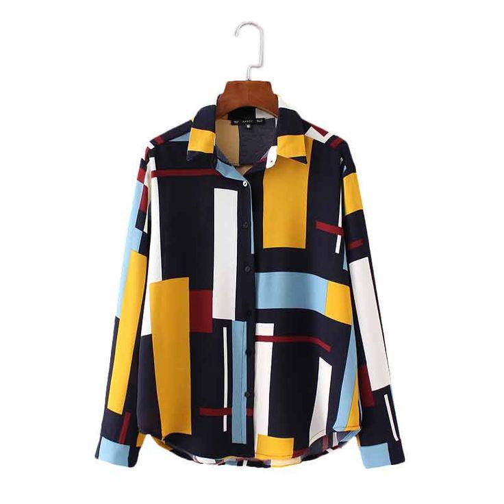 Women cute geometric print loose chiffon blouse office lady long sleeve buttons shirts turn down collar ladies brand tops