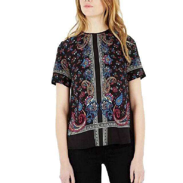 Новое Лето женщины винтаж пейсли печати шифон блузки с коротким рукавом о-образным вырезом назад молния рубашки дамы летом случайные топы blusas