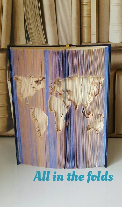 520 best folding book images on pinterest book folding folded world map cut and fold bookfolding pattern 3 includes video tutorial gumiabroncs Image collections