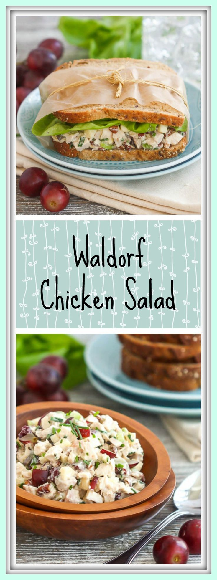 This Waldorf chicken salad combines leftover roast chicken, grapes, apples, celery, pecans and cranberries with a creamy dressing to make one tasty lunch.