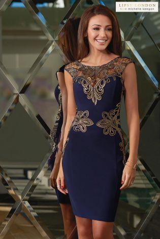 Buy Michelle Keegan Foiled Appliqué Detail Shift Dress from the Next UK online shop