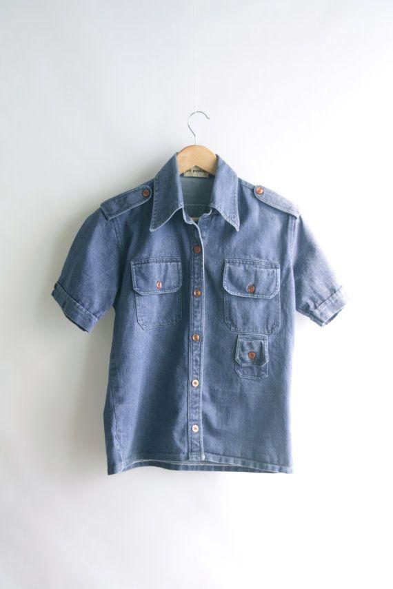 Vintage denim shirt. Workers shirt. Short by SwanDiveVintage, $35.00