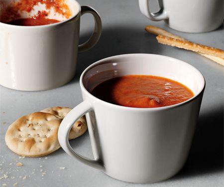 Tomato soup using greek yogurt! 76 cals a serving. Win.
