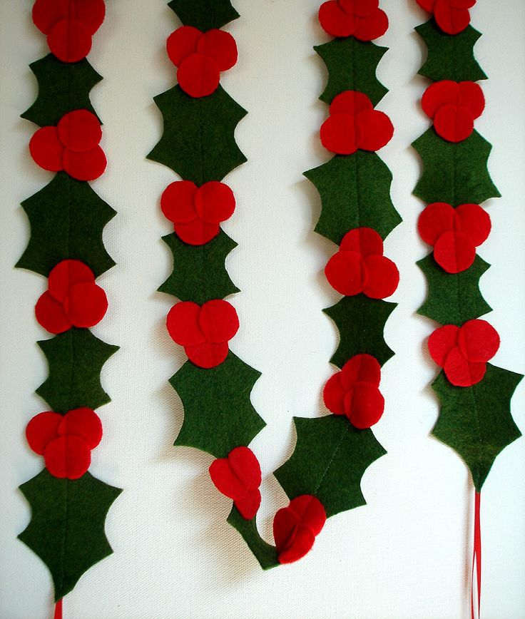 Christmas Holly Felt Garland Banner for the by TheFrenchKnots, $25.00