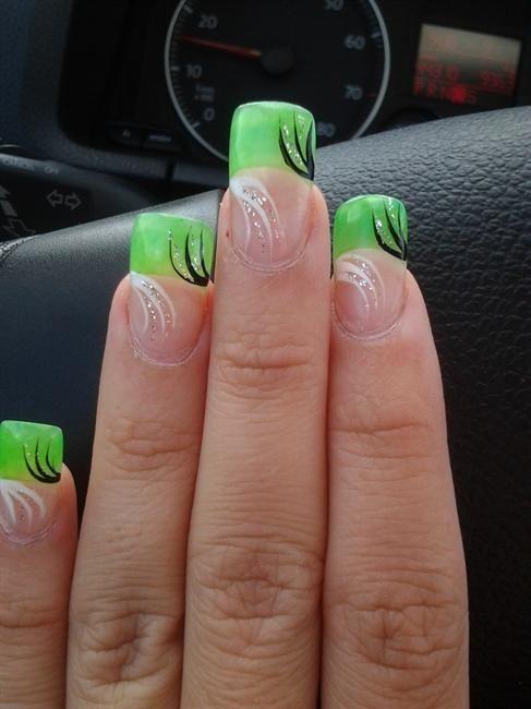 acrylic nail tips tags glitter line design neon green acrylic nail art nail nails
