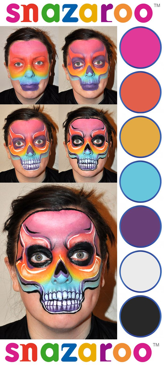 rainbow skull love the idea of colors for a skull skull face paintfacepaint ideashalloween - Skeleton Face Paint For Halloween