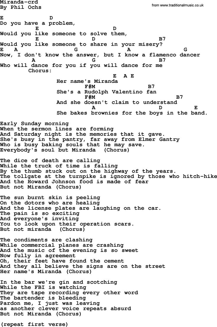 99 best phil ochs chords images on pinterest pdf lyrics and phil ochs song miranda by phil ochs lyrics and chords hexwebz Image collections