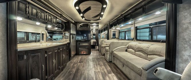 Bentley Class A Diesel Pusher Motorhome Nexus RV slides interior fireplace kitchen  Ideal RVs