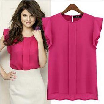 2014 nuevas mujeres gasa sin mangas volantes camisa blusa Tops blusas de colores sólidos del estilo OL cuello redondo 4 colores sml XL