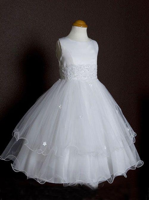 Lovely Triple Layers Flower Girl Dress - First Communion Dresses $47.00