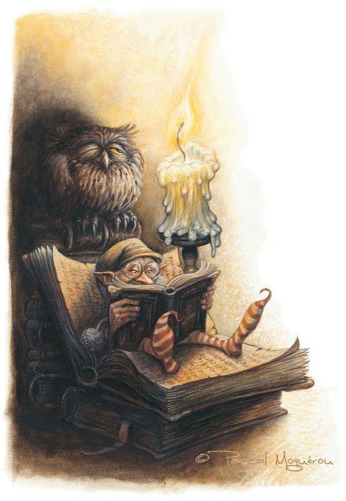 What reads the gnome? / Qué estará leyendo el gnomo? (ilustración de Pascal Moguerou)