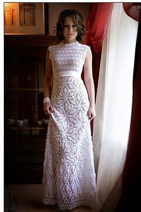 25 best crochet dress patterns ideas on pinterest for Crochet wedding dress pattern