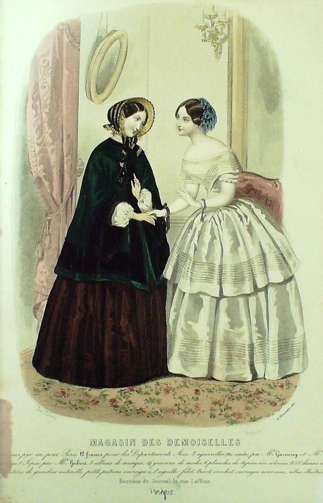 November 1851  ++++++++++  GRAVURE de MODE AUTHENTIQUE-X180-MAGASIN DEMOISELLES-ROBES DE VILLE-1850