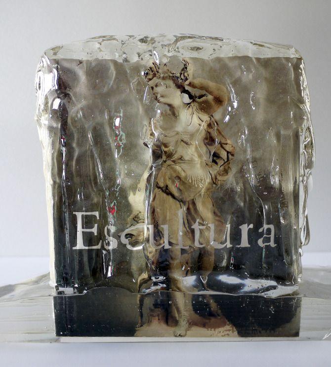 photograph of sculpture frozen in an ice sculpture