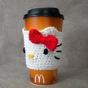 crochet Hello Kitty drink holder