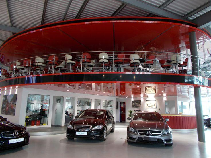 Joe Macari Ferrari Maserati Showroom using our Red and Black Lacquer Stretch Ceilings