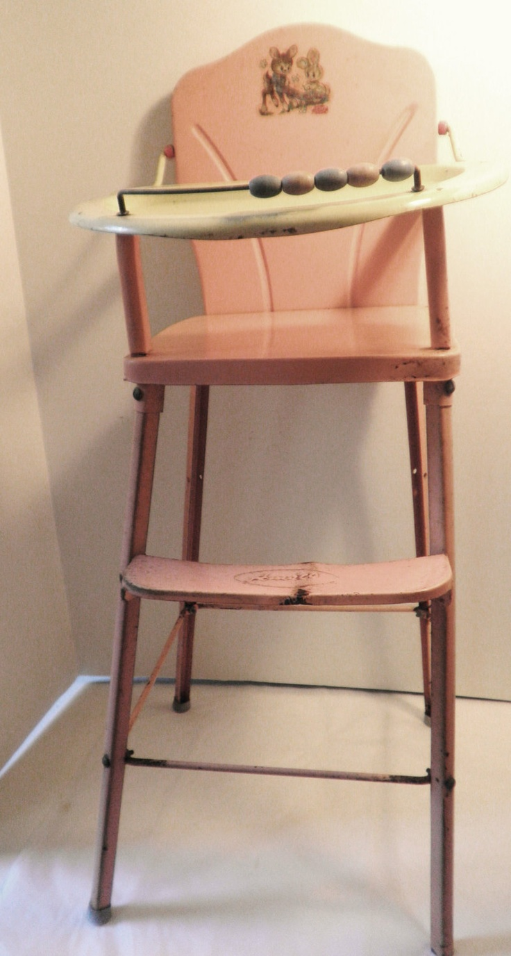 Vintage Metal High Chair - Amsco metal dolls high chair circa 1950s