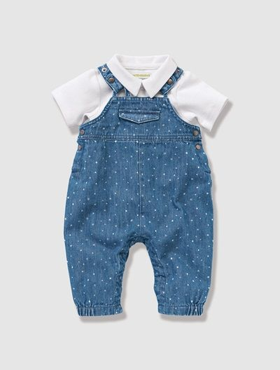 Baby's Dungarees & Bodysuit Outfit White / blue stars