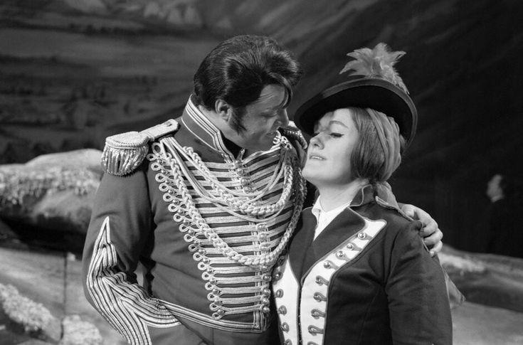 """Luciano Pavarotti and Dame Joan Sutherland in Donizetti's """"La Fille du Regiment"""" c.1970"""
