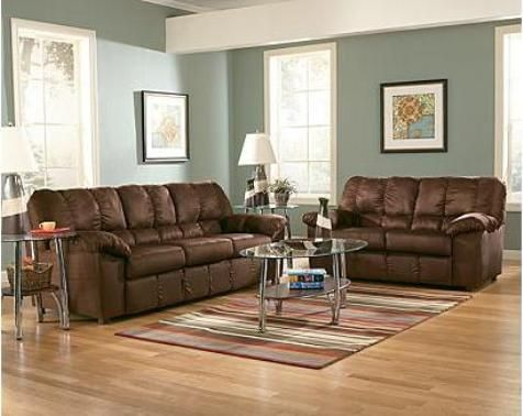 Living Room With Seaglass Wall Color Brown Sofa