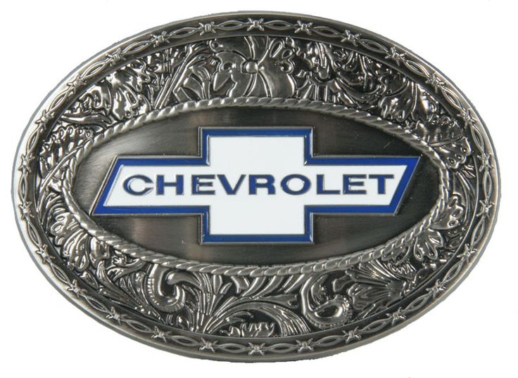 "Handsome oval buckle features the Chevy ""Bowtie"" Logo surrounded by leafy scroll with a thin barbed wire trim along the edges. Measurements 3-3/4"" x 2-5/8"""