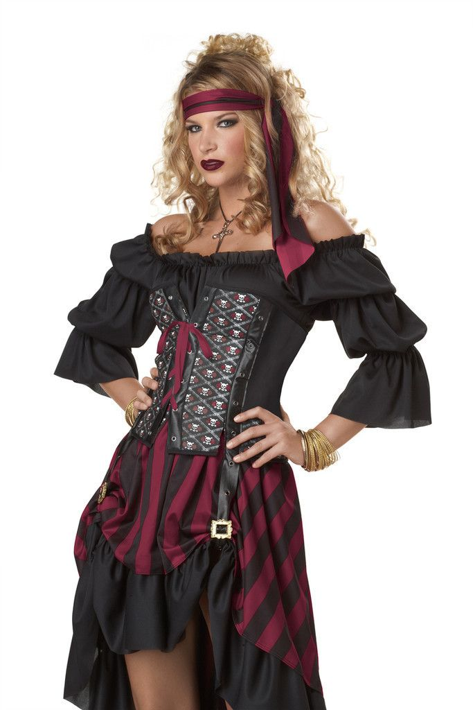 #01187 It's a pirate life for you this Halloween as the Pirate Wench. The Pirate Wench Costume includes an off the shoulder, black ruffle embellished dress with adjustable corset and black and maroon