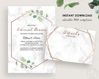 Rehearsal Dinner invite template, Printable Rehearsal Dinner Invitation, Rehearsal template, Greenery and marble, Rehearsal PDF, WR103
