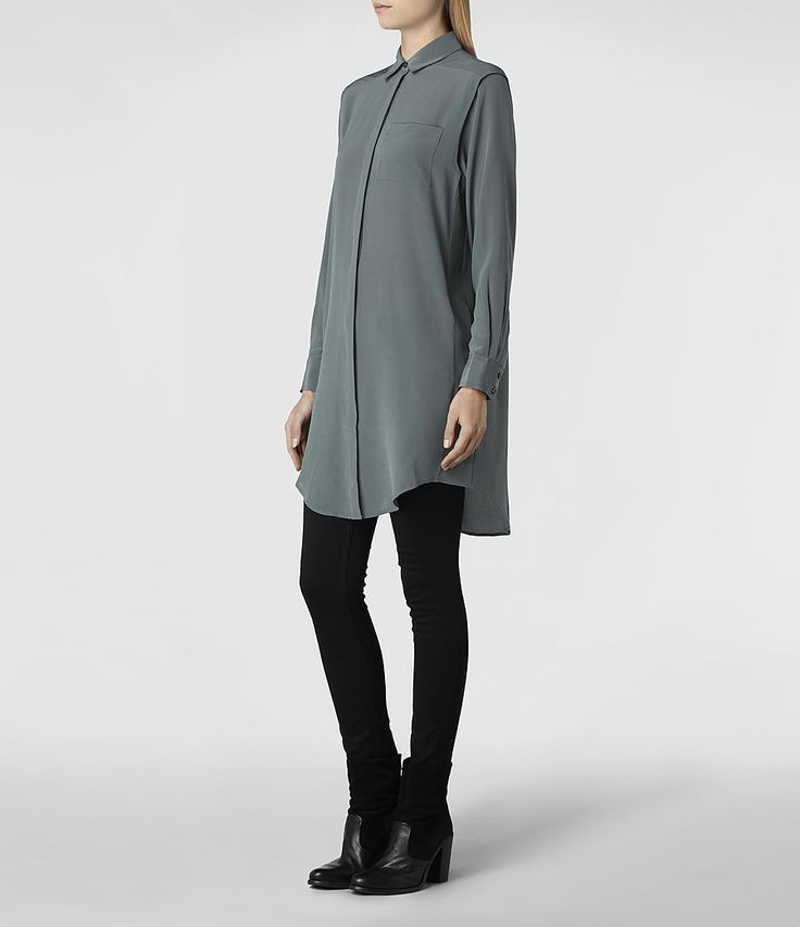 Womens Madison Shirt Dress (Slate) | ALLSAINTS.com