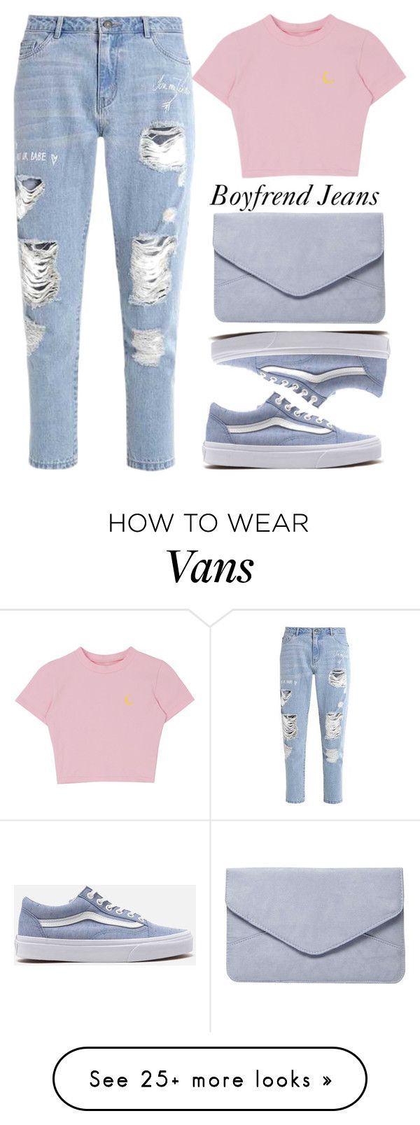 """Borrowed from the Boys: Boyfriend Jeans"" by xhesikakuca on Polyvore featuring Vans and Dorothy Perkins"