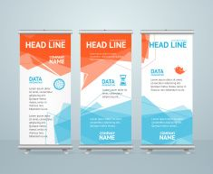 Roll Up Banner with Colorful Geometric Bubble Speech. Vector vector art illustration